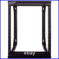 12U Wall Mount IT Open Frame 19 Network Rack with Swing Out Hinged Gate Black
