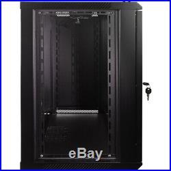 12U Wall Mount Network Server Data Cabinet Enclosure Rack Glass Door Lock with Fan