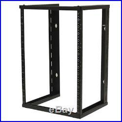 15U Wall Mount Open Frame 19 Server Equipment Rack Threaded 16 inch depth Black