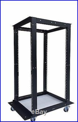 18U 4 Post Open Frame 19 Network Server Rack Cabinet Adjustable Depth Wheels
