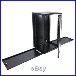 18U Server Rack Wall Mount Network Data Cabinet Glass Door Lock with Venting Slots