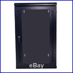 18U Wall Mount IT Network Server Data Cabinet Rack Enclosure Lock & Cooling Fan