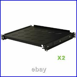 2 pack Sliding Rack Vented Server Shelf 1U 19 4 Post Rack Mount 13.75 Deep
