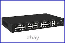 24 Port PoE + Switch with 3 Gigabit Uplink, Quiet Fanless Output 250W Rack Mount