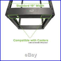 4-Post Adjustable Open Frame Black Server Rack IT Data Network Relay 45U 7ft