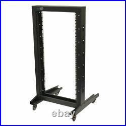 4ft Open Frame 19 22U 2-Post Network Server Relay Rack Rolling with Casters