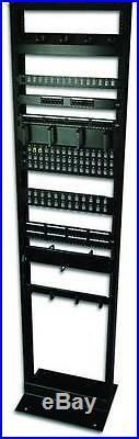 7ft Open Frame 23 45U 2-Post Black IT Network Server Relay Rack 900lbs Capacity