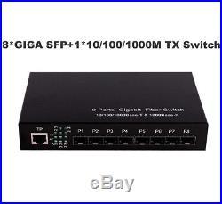 9 ports Gigabit Ethernet Optical Fiber Switch with 8 SFP ports and 11000M RJ45