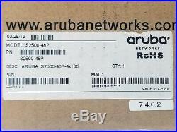 Aruba S2500-48P 4x10G Mobility Access Switch PoE L3 Gigabit Ethernet 48 Port