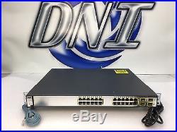 Cisco WS-C3750G-24PS-S 24 Port Gigabit Ethernet PoE Switch GigE SFP IP Base KCK
