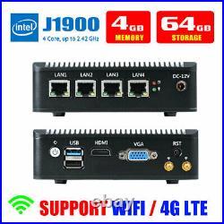 Fanless Mini PC Intel J1900 4 LAN Port 4G RAM/64G SSD Fanless pfSense Firewall