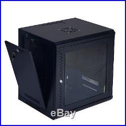 Goplus 9U Wall Mount Network Server Data Cabinet Enclosure Rack Glass Door Lock