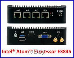Intel Atom E3845 4 LAN 3G/4G 4G RAM/64G SSD Fanless pfSense Firewall AES-NI