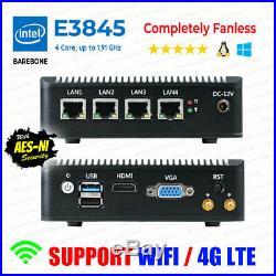 Intel Atom E3845 4 LAN 3G/4G Barebone Fanless pfSense Firewall AES-NI