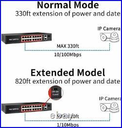PoE Switch with 16 POE Ports +2 Gigabit Uplink, 1 x 1G SFP, 802.3af/at PoE+240W