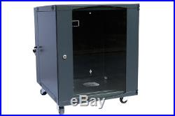 Rising 12U Wall Mount Network Server Cabinet Rack Enclosure ventilation Door Loc