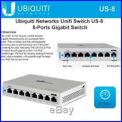 Ubiquiti US-8 UniFi 8-Port Gigabit PoE Compliant Managed Switch