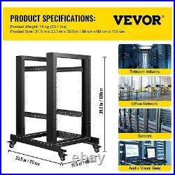 VEVOR Open Frame Server Rack Network Server Rack 15U 4 Post 19 Steel Relay Rack